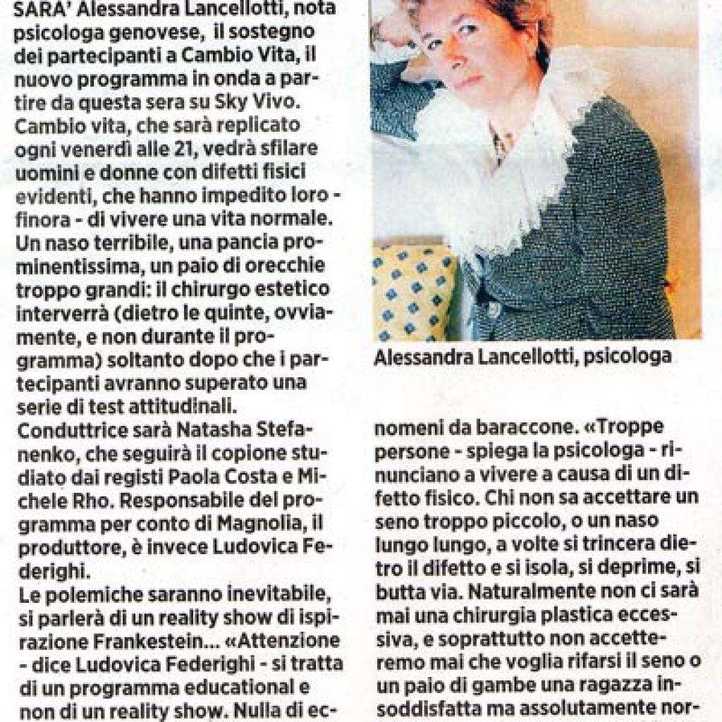 Chirurgia plastica su Sky Vivo Alessandra Lancellotti psicologo life coach psicoterapeuta