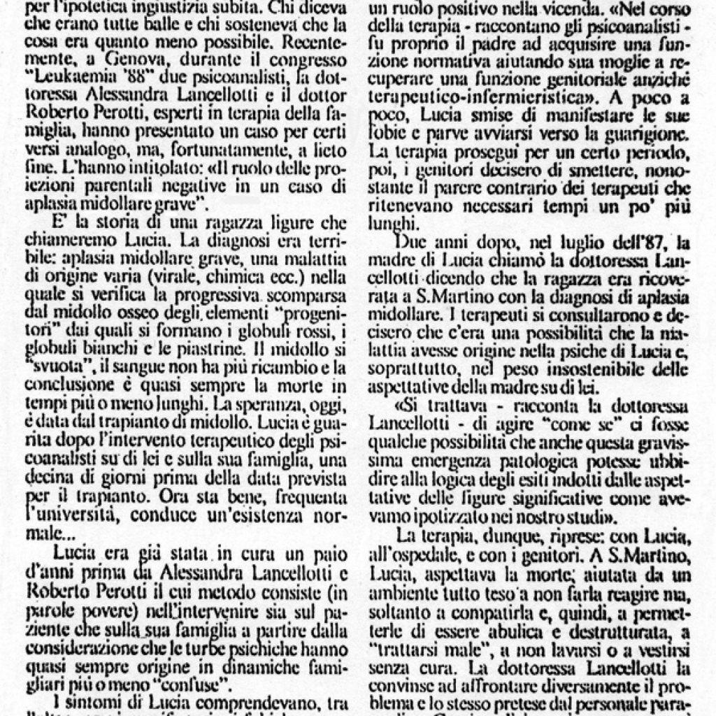 Se la psicanalisi cura la leucemia Alessandra Lancellotti psicologo life coach psicoterapeuta
